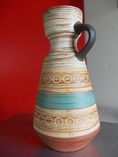 German Pottery Handled Vase