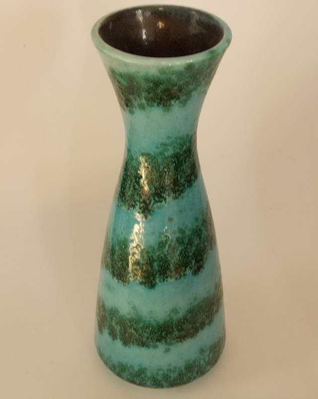 West German Turquoise and Green Pottery Vase