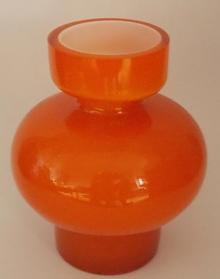 Signed Orange Rounded Glass Vase, P Strom
