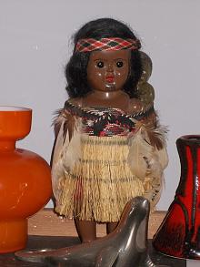 Feather Cloaked Maori Doll with Baby