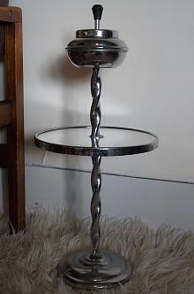 Chrome Mirrored Table and Ashtray Stand